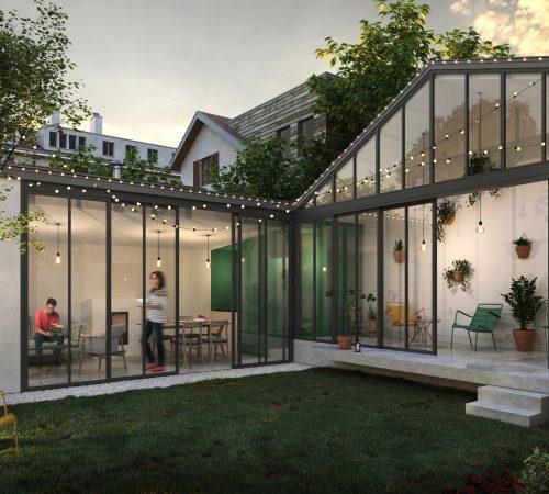 Extension maison jardin hiver